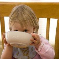 Girl toddler eating