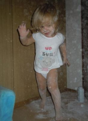 getting into trouble with baby powder!